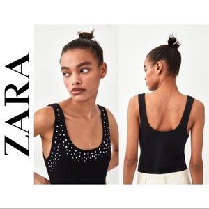 Zara Black Tank Top Bodysuit w/ Rhinestone Decals